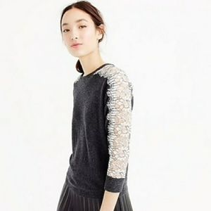 J CREW | Wool & Embroidered Lace Sweater Medium